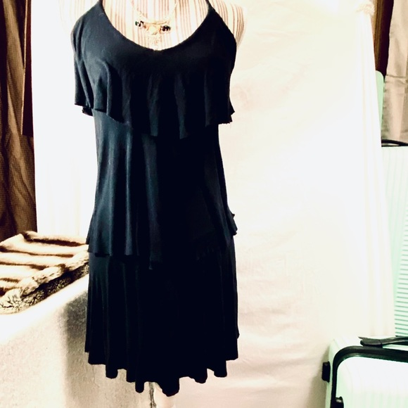 Soft Black three tiered dress with T back